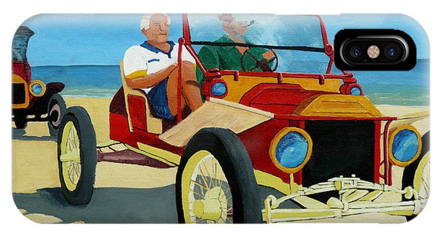 Cars IPhone X Case featuring the painting Granpas Racer by Anthony Dunphy