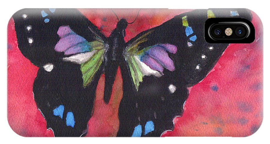 Butterfly IPhone X Case featuring the painting Graphium Weiskei by Jan Freeman