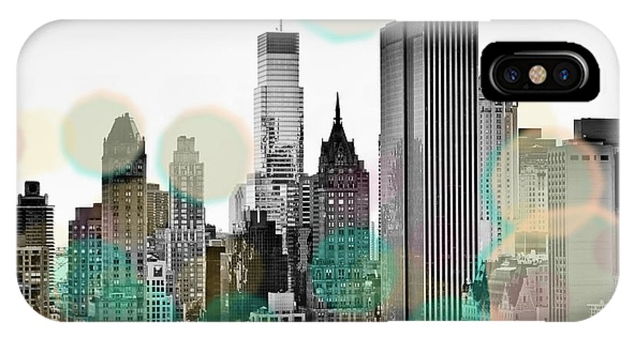 Gray IPhone X Case featuring the digital art Gray City Beams by Susan Bryant