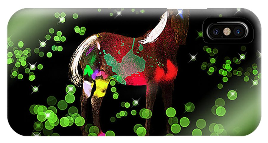 Horse IPhone X Case featuring the digital art Grazing In The Grass - Featured In Visions Of The Night Group by Ericamaxine Price