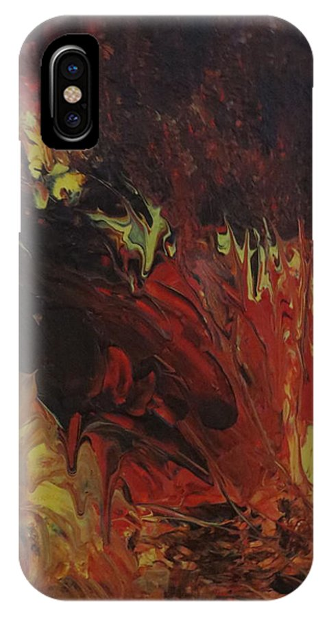 Abstract IPhone X Case featuring the painting Great Ball Of Fire by Soraya Silvestri