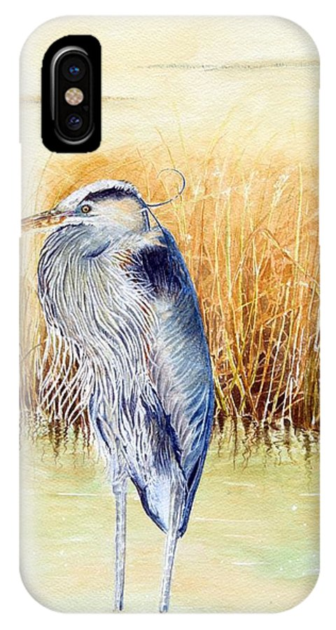 Heron IPhone X Case featuring the painting Great Blue Heron by Hannah Boynton