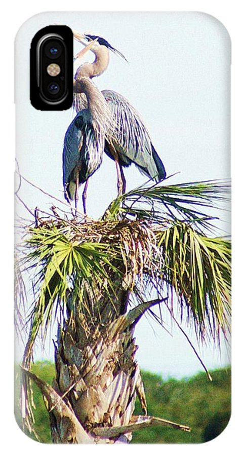 Wild IPhone X Case featuring the photograph Great Blue Heron Three by Walter Rickard