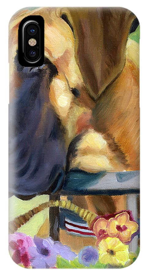 Great Dane IPhone X Case featuring the painting Great Dane On Balcony by Lyn Cook