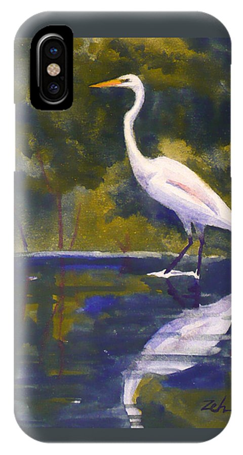 Bird IPhone X Case featuring the painting Great Egret by Janet Zeh