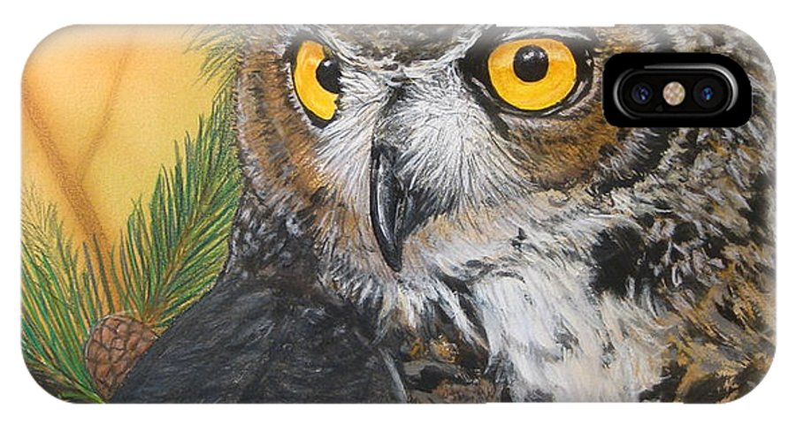 Owl IPhone X Case featuring the mixed media Great Horned Owl by Ethan Foxx