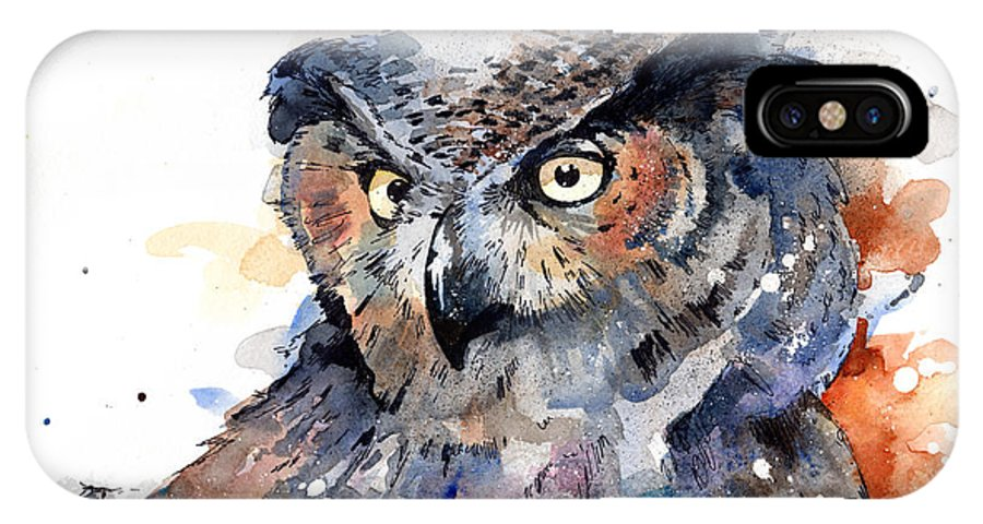 Watercolor IPhone X Case featuring the painting Great Horned Owl by Sean Parnell
