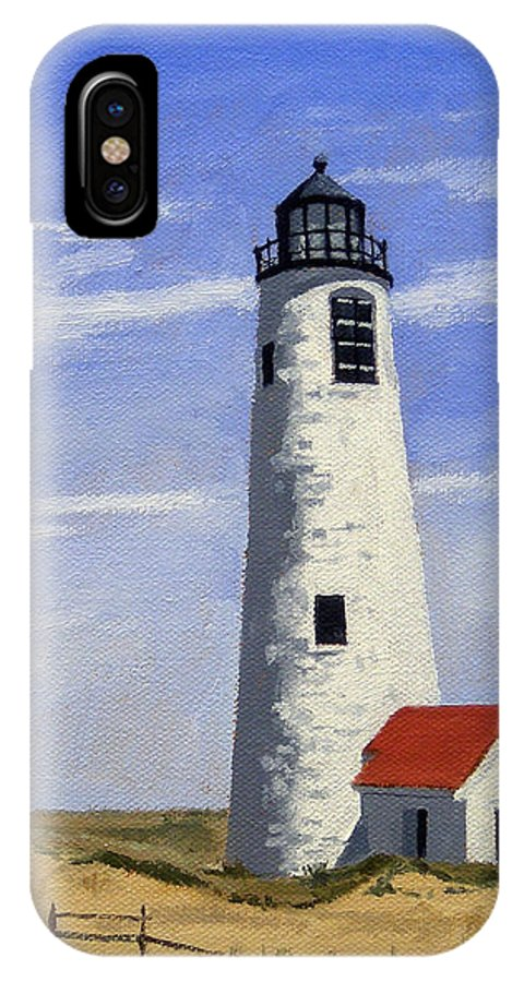 Christine Hopkins IPhone X Case featuring the painting Great Point Lighthouse Nantucket Massachusetts by Christine Hopkins