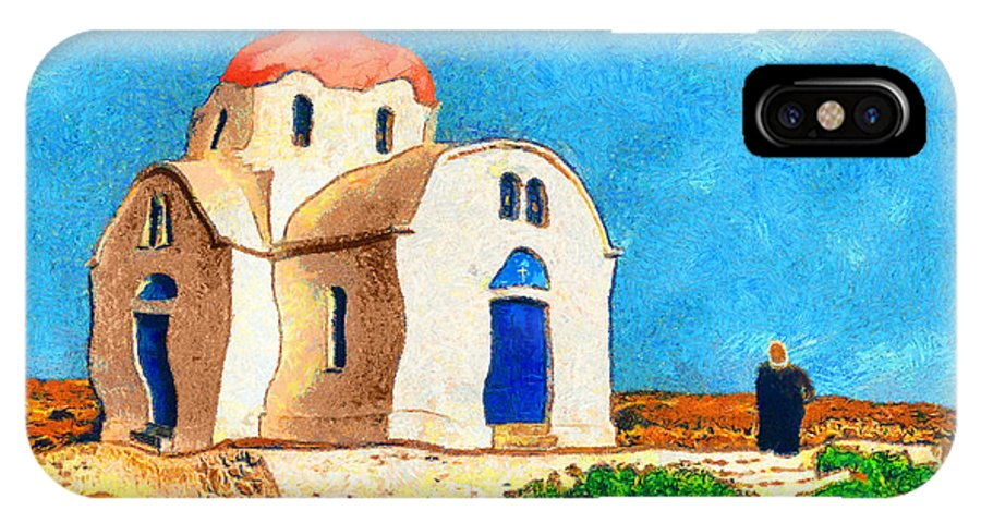 Rossidis IPhone X Case featuring the painting Greek Church 4a by George Rossidis