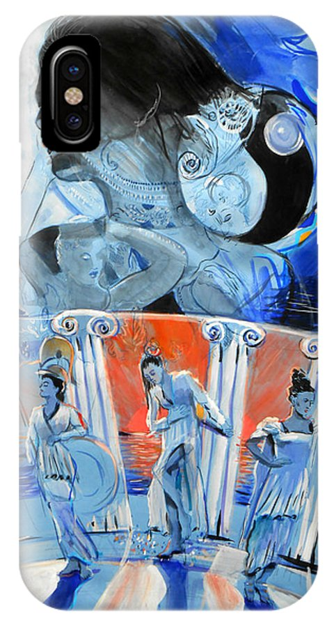 Fantasy IPhone X Case featuring the painting Greek Goddesses by Lucia Hoogervorst