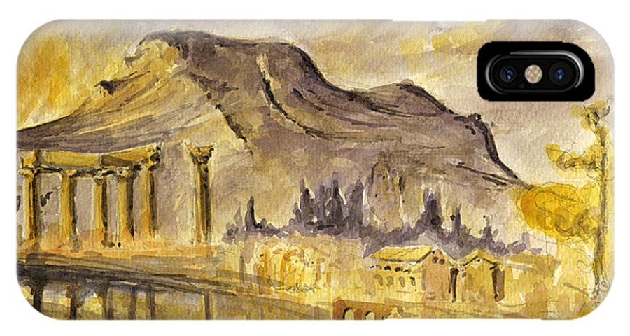 Greek IPhone X Case featuring the painting Greek Ruins by Juan Bosco