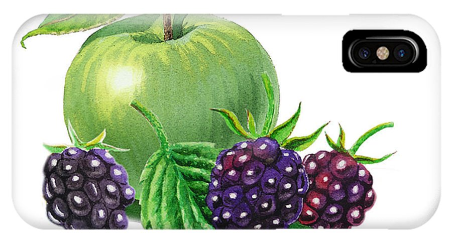 Apple IPhone X Case featuring the painting Green Apple With Blackberries by Irina Sztukowski