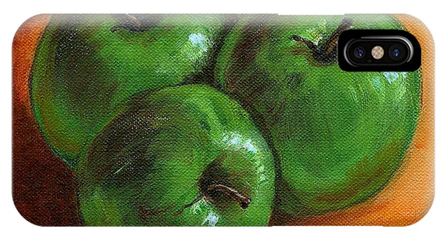 Apples IPhone Case featuring the painting Green Apples by Asha Sudhaker Shenoy