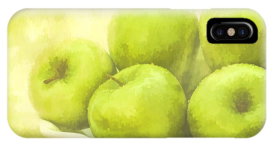 Apples IPhone X Case featuring the photograph Green Apples by Linda Blair