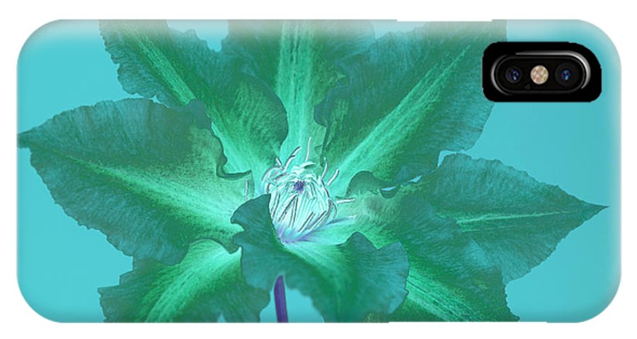 Clematis IPhone X Case featuring the digital art Green Clematis On Turquoise by Rosemary Calvert