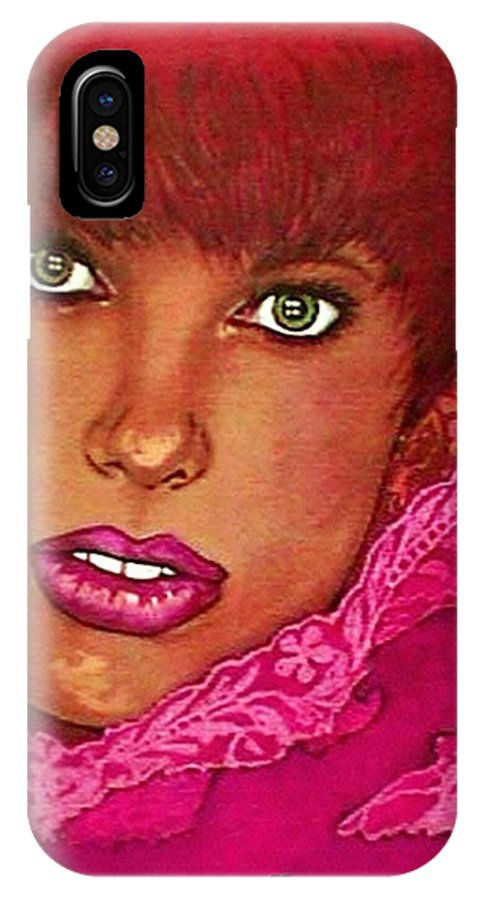 Portrait IPhone X Case featuring the pastel Green Eyed Redhead by Ellen Cannon