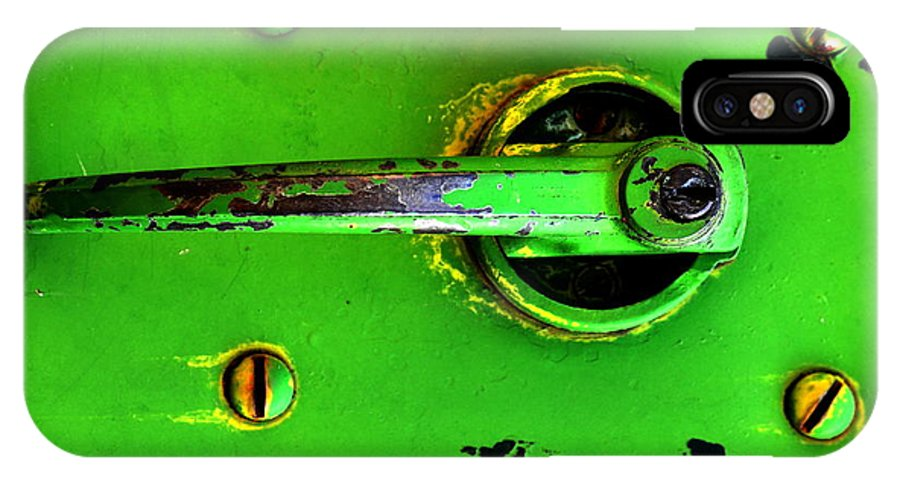 Metal IPhone X Case featuring the photograph Green Handle by Newel Hunter