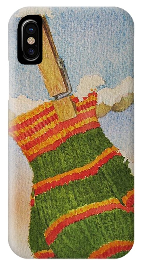 Christmas IPhone X Case featuring the painting Green Mittens by Mary Ellen Mueller Legault