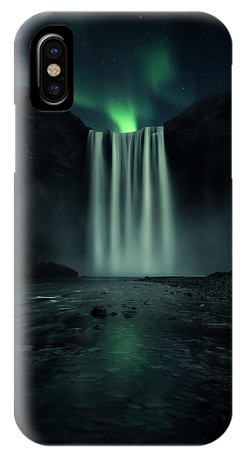 Skogafoss IPhone X Case featuring the photograph Green Night by Jorge Ruiz Dueso