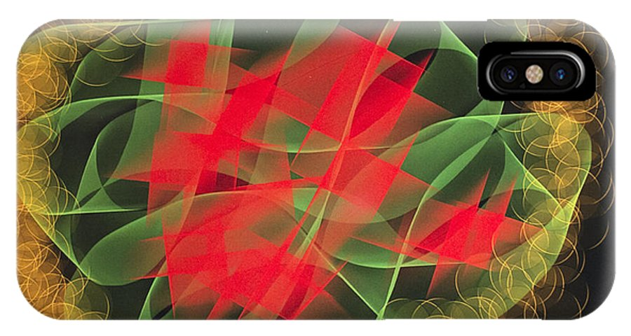 Green Red Gold Abstract IPhone X Case featuring the digital art Green Red Gold Abstract by Barbara Snyder