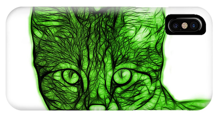 Cat IPhone X Case featuring the digital art Green Savannah Cat - 5462 F S by James Ahn