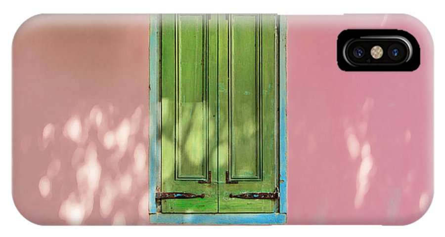 St. Augustine IPhone X Case featuring the photograph Green Shutters Pink Stucco Wall by Rich Franco