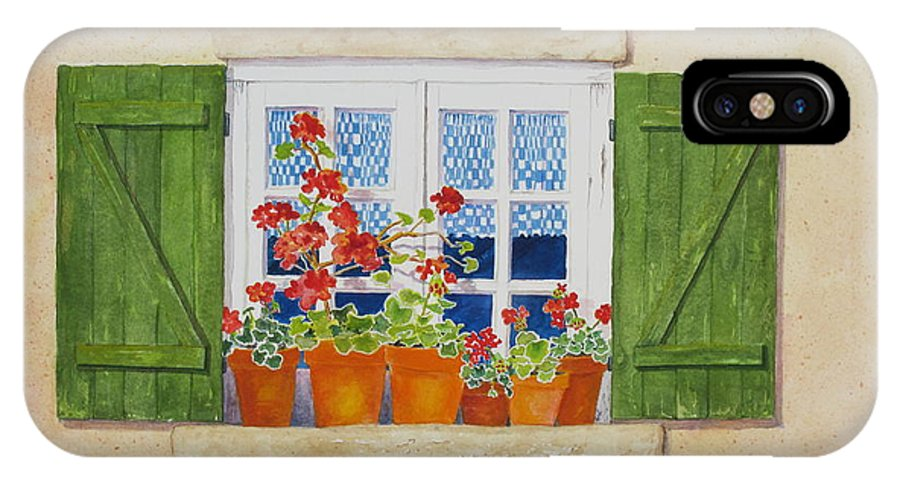 Shutters IPhone X Case featuring the painting Green Shutters With Red Flowers by Mary Ellen Mueller Legault
