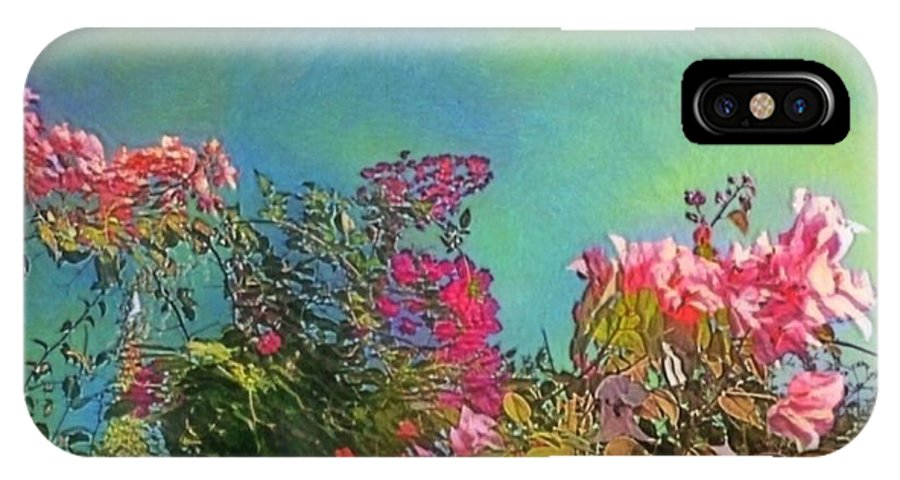 Sharkcrossing IPhone X Case featuring the painting Green Sky With Pink Bougainvillea - Square by Lyn Voytershark