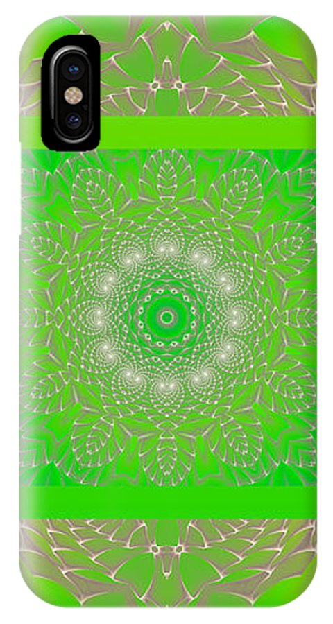 Hanza Turgul IPhone X Case featuring the digital art Green Space Flower by Hanza Turgul