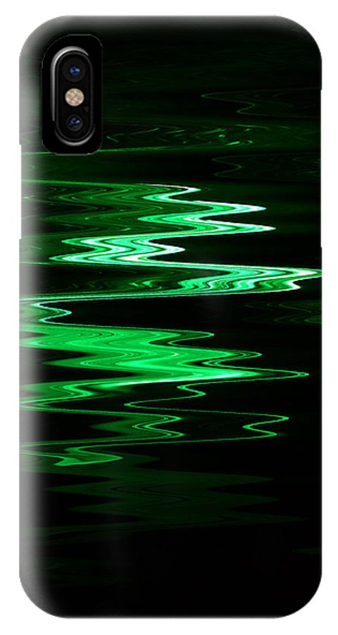 Digital Art IPhone X Case featuring the digital art Green Squiggle by Stephan Pabst