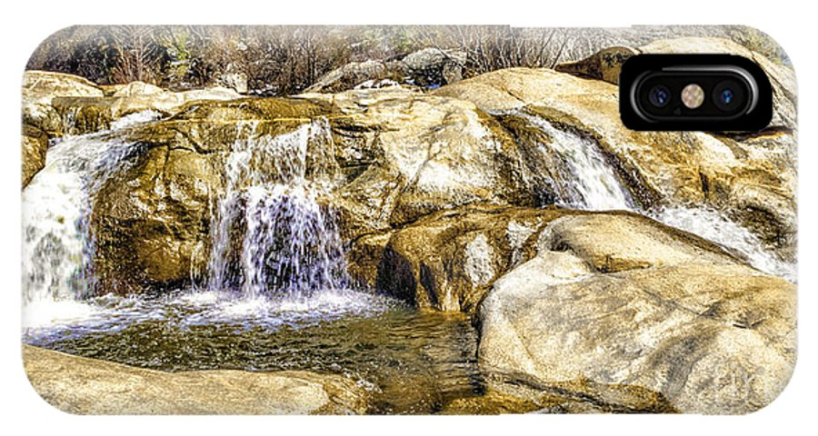 Green Valley Falls IPhone X Case featuring the digital art Green Valley Falls Winter by L J Oakes
