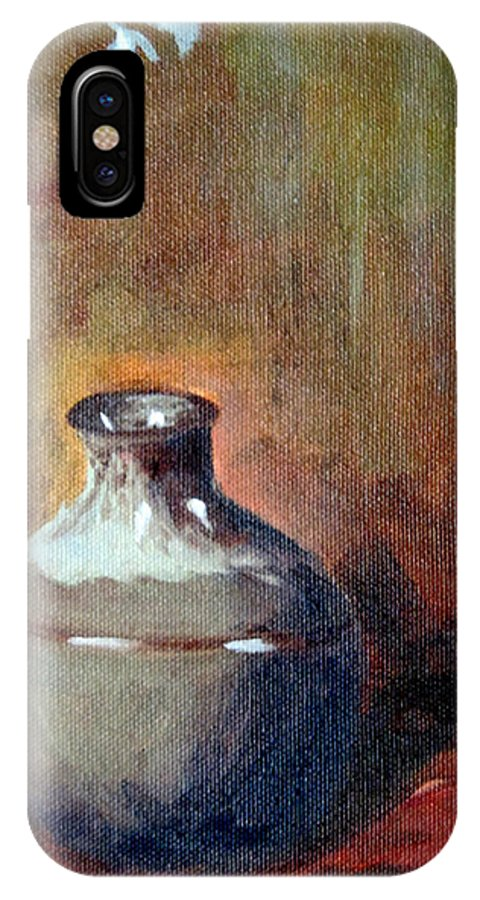 Asian Style Painting IPhone X Case featuring the painting Green Vase by Gina Haining