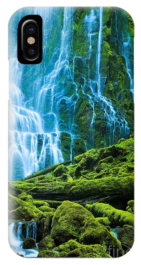 America IPhone X Case featuring the photograph Green Waterfall by Inge Johnsson
