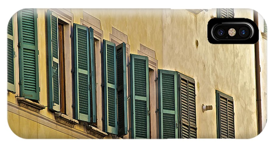 Carved Stone IPhone X Case featuring the photograph Green Window Shutters Of Florence by David Letts