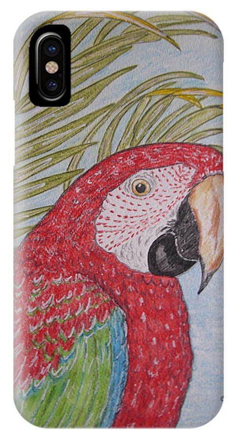Green Wing Macaw IPhone X Case featuring the painting Green Winged Macaw by Kathy Marrs Chandler