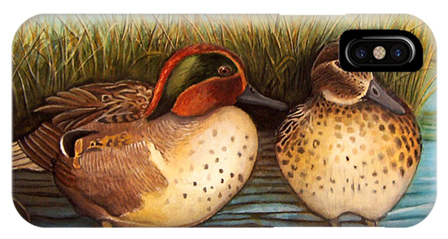 Rick Huotari IPhone X / XS Case featuring the painting Green Winged Teal by Rick Huotari