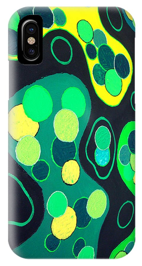 Green IPhone X Case featuring the painting Green World by Martin Martelli