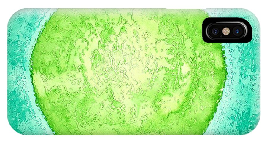 Ink IPhone X Case featuring the painting Green World Original Painting by Sol Luckman