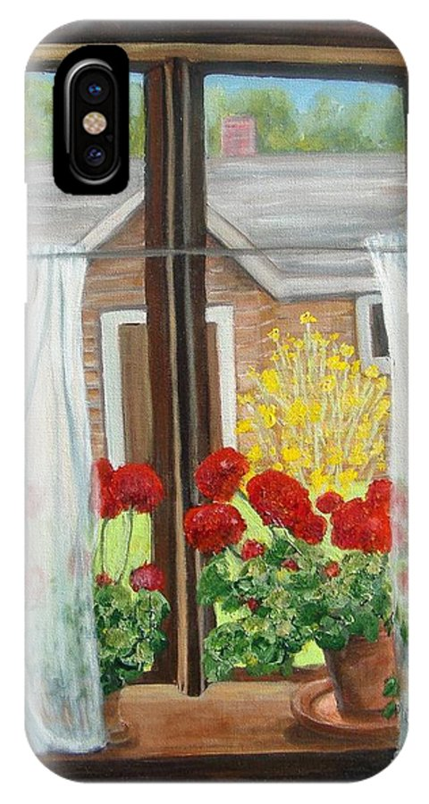 Windows IPhone X Case featuring the painting Greet The Day by Laurie Morgan