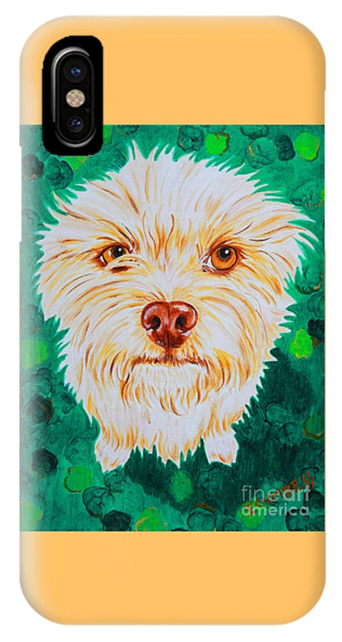 Dog IPhone X Case featuring the painting Gremlin by E Cumbess