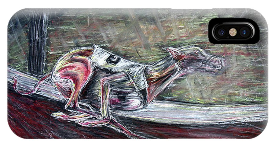 Dog IPhone Case featuring the drawing Greyhound Number Three by Tom Conway