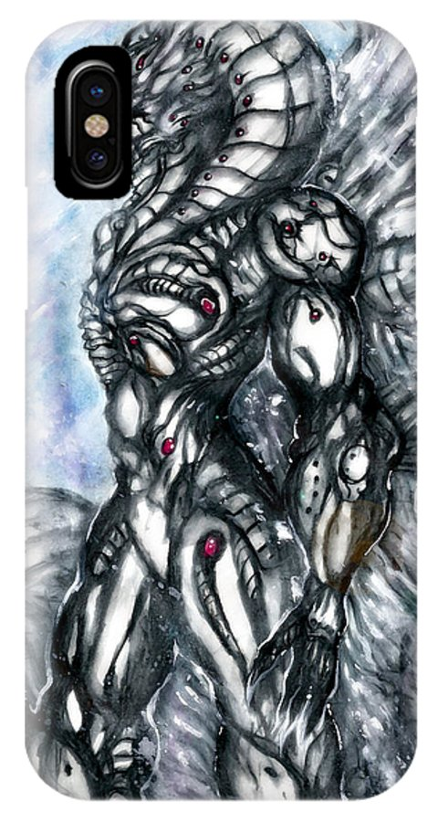 Richard IPhone X Case featuring the digital art Grim Hatred by Richard Tyler