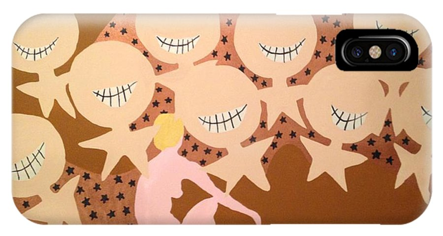Grin IPhone X Case featuring the painting Grin by Erika Chamberlin
