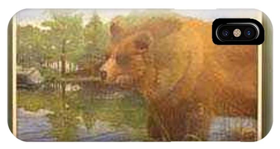 Rick Huotari IPhone X / XS Case featuring the painting Grizzly by Rick Huotari
