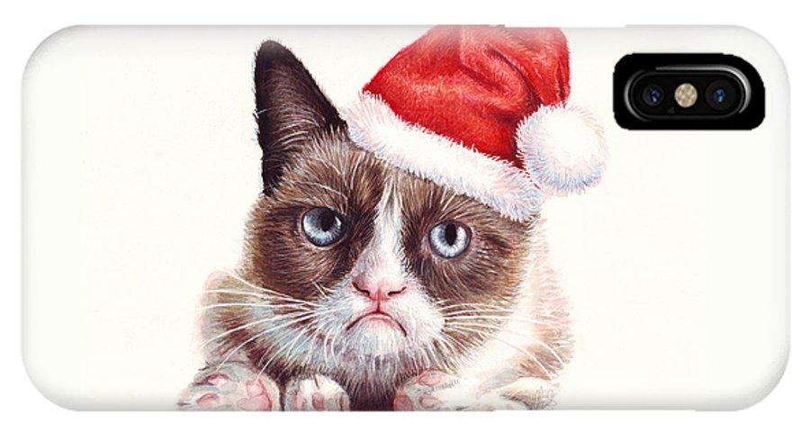 Grumpy IPhone X Case featuring the painting Grumpy Cat As Santa by Olga Shvartsur