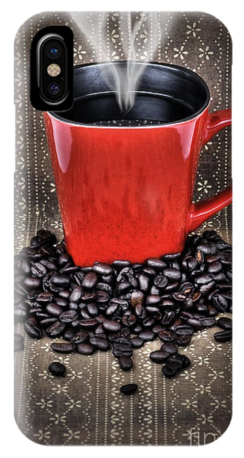 Coffee IPhone X Case featuring the photograph Grunge Red Coffee Mug And Beans by Sylvie Bouchard