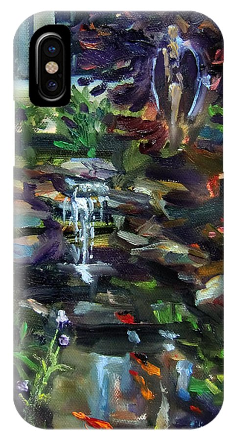 Angel IPhone X Case featuring the painting Guardian Angel And Koi Pond by Mitzi Lai