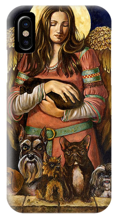 Guardian Of Dogs IPhone X Case featuring the painting Guardian Angel Of Dogs by Ann Marie Campbell