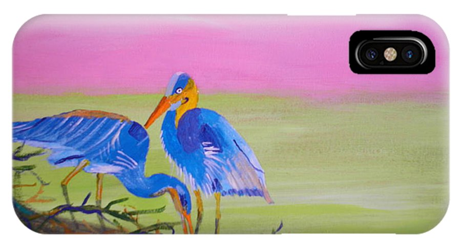 Herons IPhone X Case featuring the painting Guarding The Babies by Linda Bright Toth