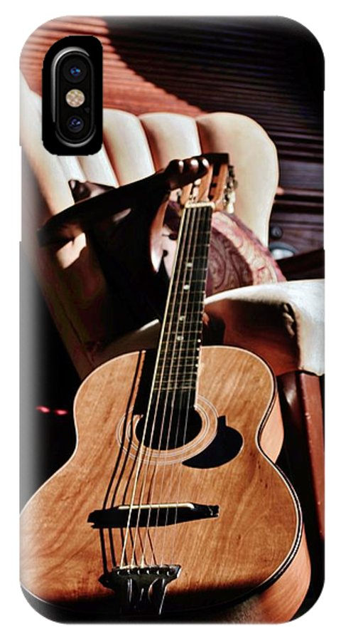 Guitar IPhone X / XS Case featuring the photograph Guitar In Sunlight by Victoria Fischer